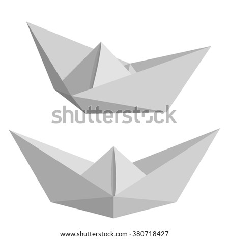 Set of paper ships isolated on white background. Origamy. Low poly style raster illustration.