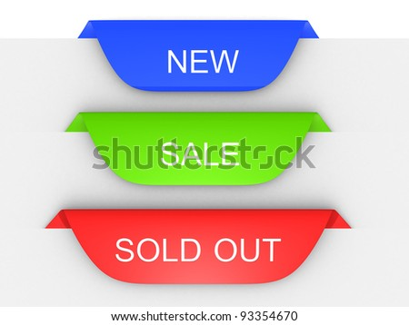 Set of paper tags for new, sold out and discounted items - stock photo