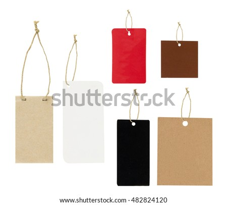 Set of paper tags with simple traditional strings, isolated on white background, highly detailed, clipping part