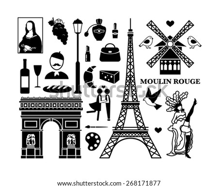 Set of Paris icons. Cosmetics and Arc de Triomphe, Moulin Rouge and Eiffel Tower