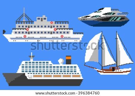 Set of passenger ships and boats. Pixel art illustration - stock photo