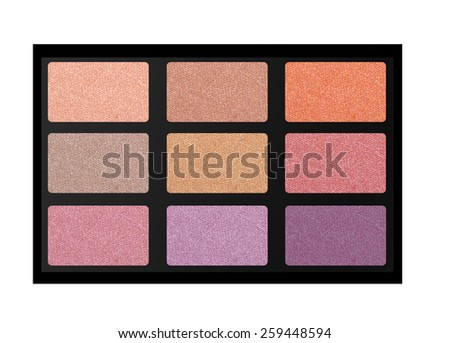 set of pastel eyeshadows isolated on white background - stock photo