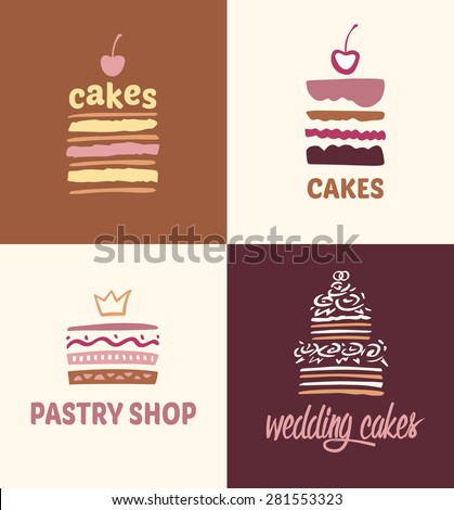 Set of patterns  logos cakes. Logo confectionery, coffee shop. Big cakes with fillings and wedding cakes.