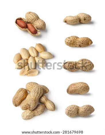 Set of Peanuts isolated on white background close up - stock photo