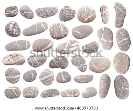set of pebbles isolated on white background
