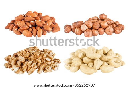 Set of  peeled  filbert, almonds, cashew, walnuts isolated on white background