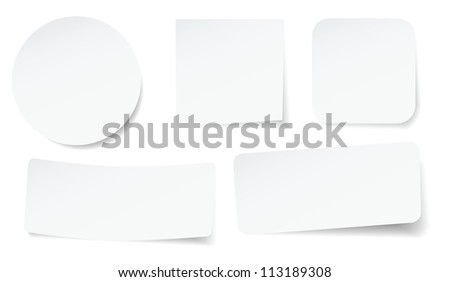 set of peeling stickers in different shape. - stock photo