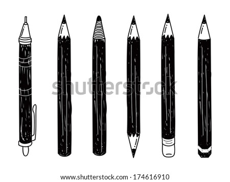 set of pencil doodle - stock photo
