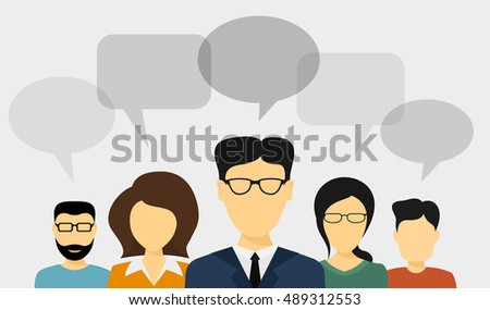 set of people avatars with speech bubbles, flat style illustration, people communication concept