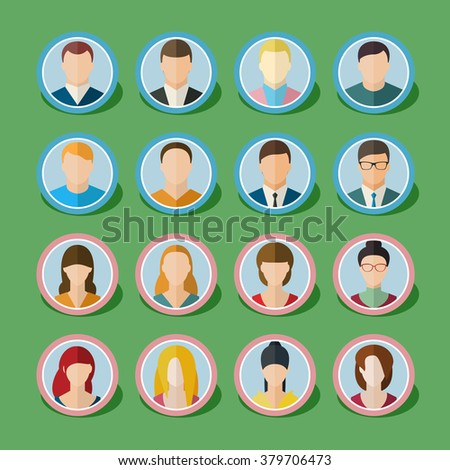 Set of people icons in flat style with faces. Women, men character