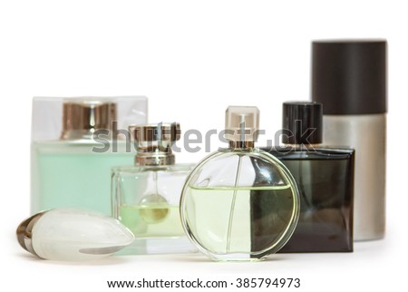 Set of perfume bottles isolated on white background