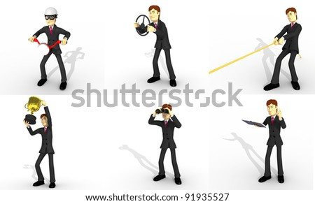 set of person with suit - stock photo