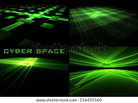 Set of perspective green on black surfaces - stock photo