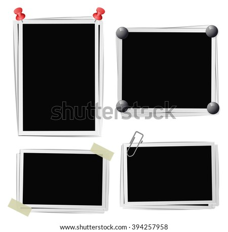 Set of photo frames with pins, pushpins, adhesive tape, clips on white. raster version  - stock photo