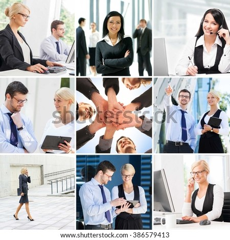 Set of photos about business with group handshake in the center of collage.