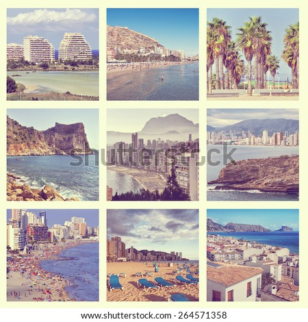 Set of photos - Costa Blanca beaches - Benidorm skyscrapers, Calpe lake and hotels, Alicante mountain, Altea village, Denia hidden inlets, Valencia palm trees. Aerial view, people, sunbed over sand - stock photo