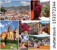 set of photos from colorful town Guanajuato in Mexico - stock
