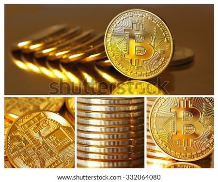 Set of photos Golden Bitcoins on a gold background (new virtual money ). Closeup . - stock photo