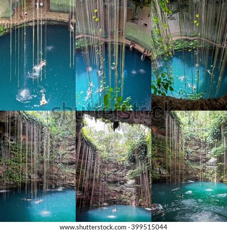 Set of 6 photos of the Ik-Kil cenote near Chichen Itza, Mexico - stock photo