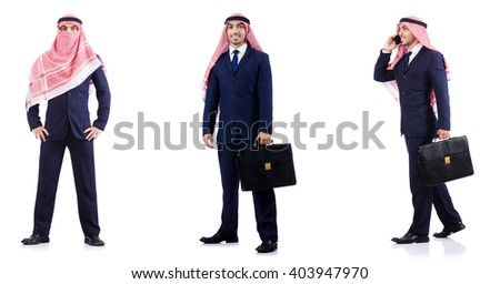 Set of photos with arab businessman - stock photo