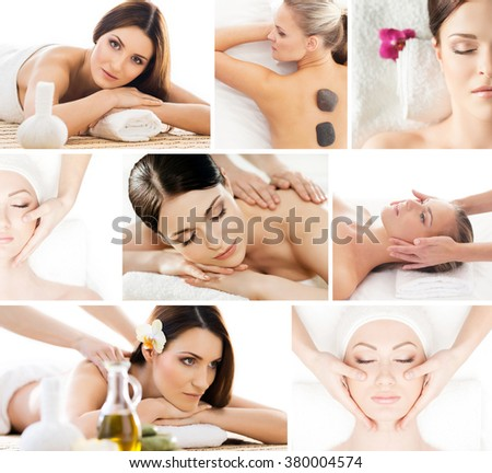 Set of photos with beautiful, relaxed women having massaging procedures in spa. - stock photo