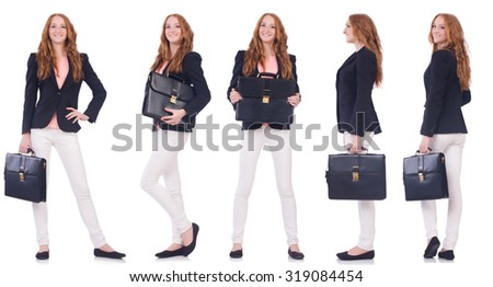 Set of photos with business woman - stock photo