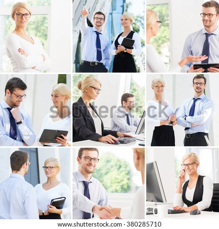 Set of photos with two business partners in different situations. - stock photo