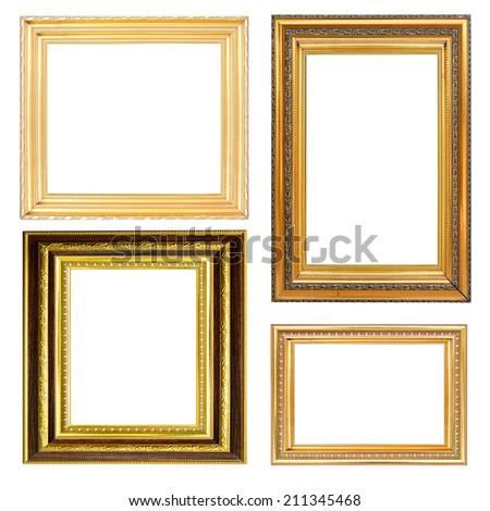 set of picture frame gold and wood isolated on white.