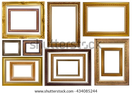 Set of picture frame. Photo art gallery isolated on white background. - stock photo