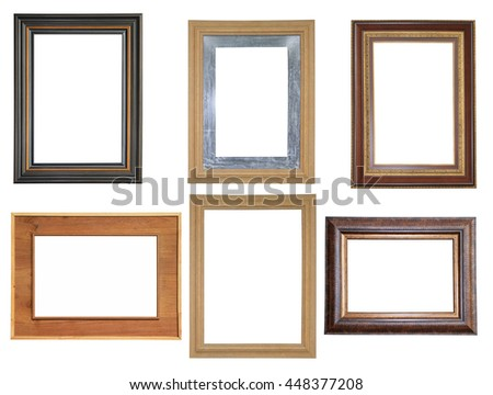 Set of picture frames isolated on white background - stock photo