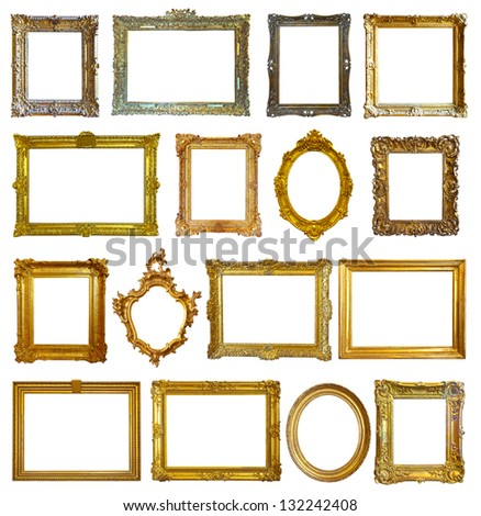 Set of 16 picture frames. Isolated over white background with clipping path - stock photo