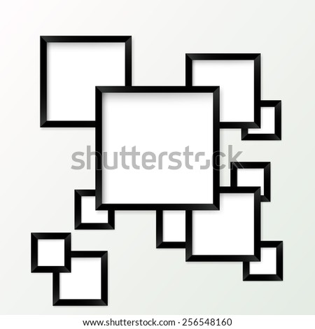 Set of picture frames with black borders - stock photo