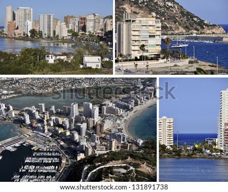 Set of pictures of Summer Resort Calpe in Costa Blanca, Spain. Coastline of Mediterranean Resort Sea, Lagoon Las Salinas and Mountain Penon de Ifach. Yachts and skyscrapers. - stock photo