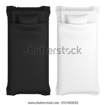 Set of pictures of the two beds with white and black linen - stock photo