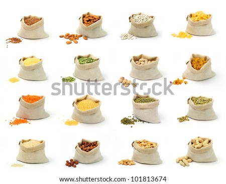 Set of pictures on cereal and nuts in sacks on white background. - stock photo