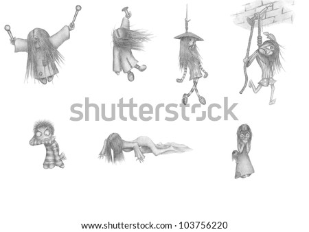 set of pictures. theme of Halloween, horror and death - stock photo
