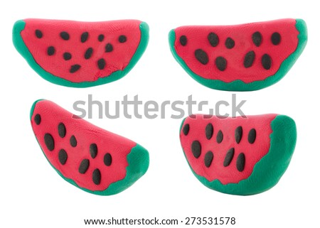 Set of Piece of red water melon made from plasticine - stock photo