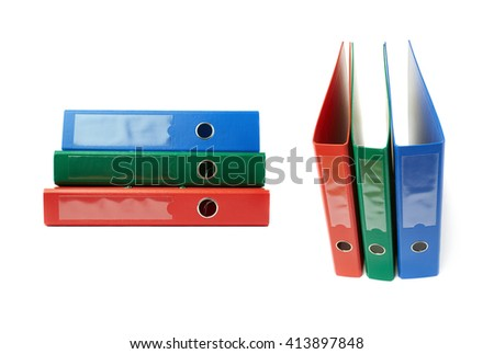 Set of Pile different  Office folders isolated over the white background - stock photo