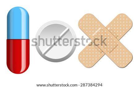 Set of pills and bandage isolation on white background - stock photo