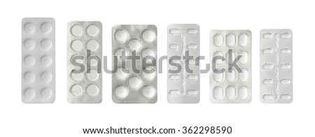 Set of pills in a plastic blister package, clipping path - stock photo
