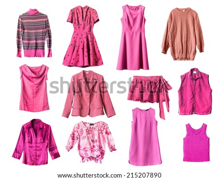 Set of pink clothes on white background - stock photo