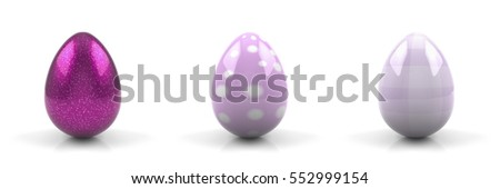 Set of 3 pink Easter eggs isolated on white background - 3D rendering