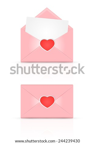 Set of pink envelopes with red Valentines heart, illustration. - stock photo