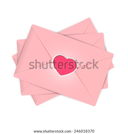 Set of pink envelopes with Valentines heart, illustration. - stock photo