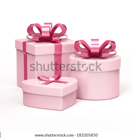 Set of pink gift boxes on white background. - stock photo