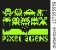 Set of pixel art aliens icons, raster version - stock vector