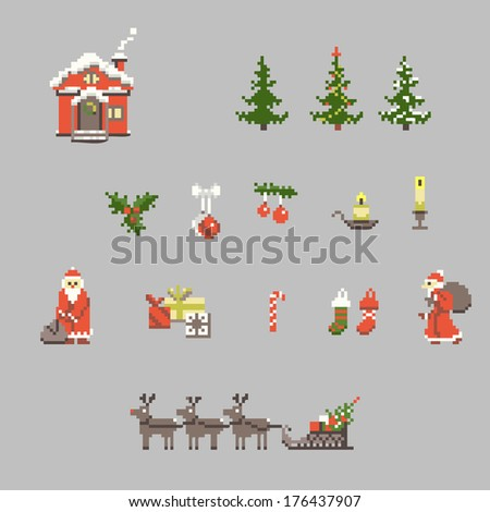 set of pixel art for christmas and new year. Raster version.