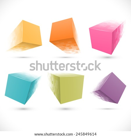 Set of pixelated cube banners. - stock photo