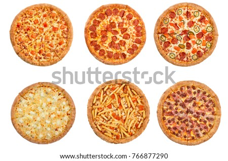 Set of pizza isolated on white background. Top view