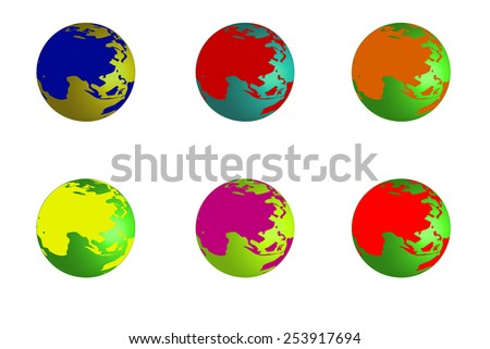 Set of planet earth, from different colors for illustration background - stock photo
